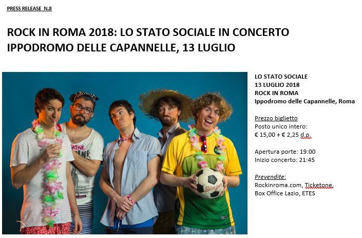 Lo Stato Sociale al Rock in Roma il 13 Luglio